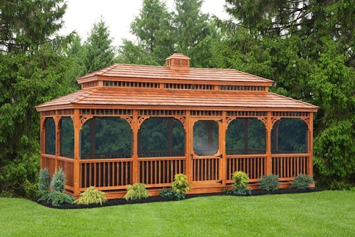 Enclosed wood gazebo Long Island.