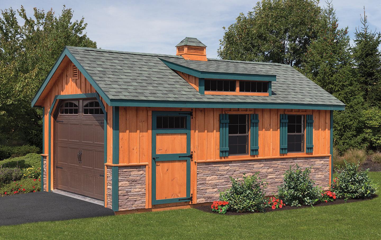 Wooden storage garage in Medford NY.