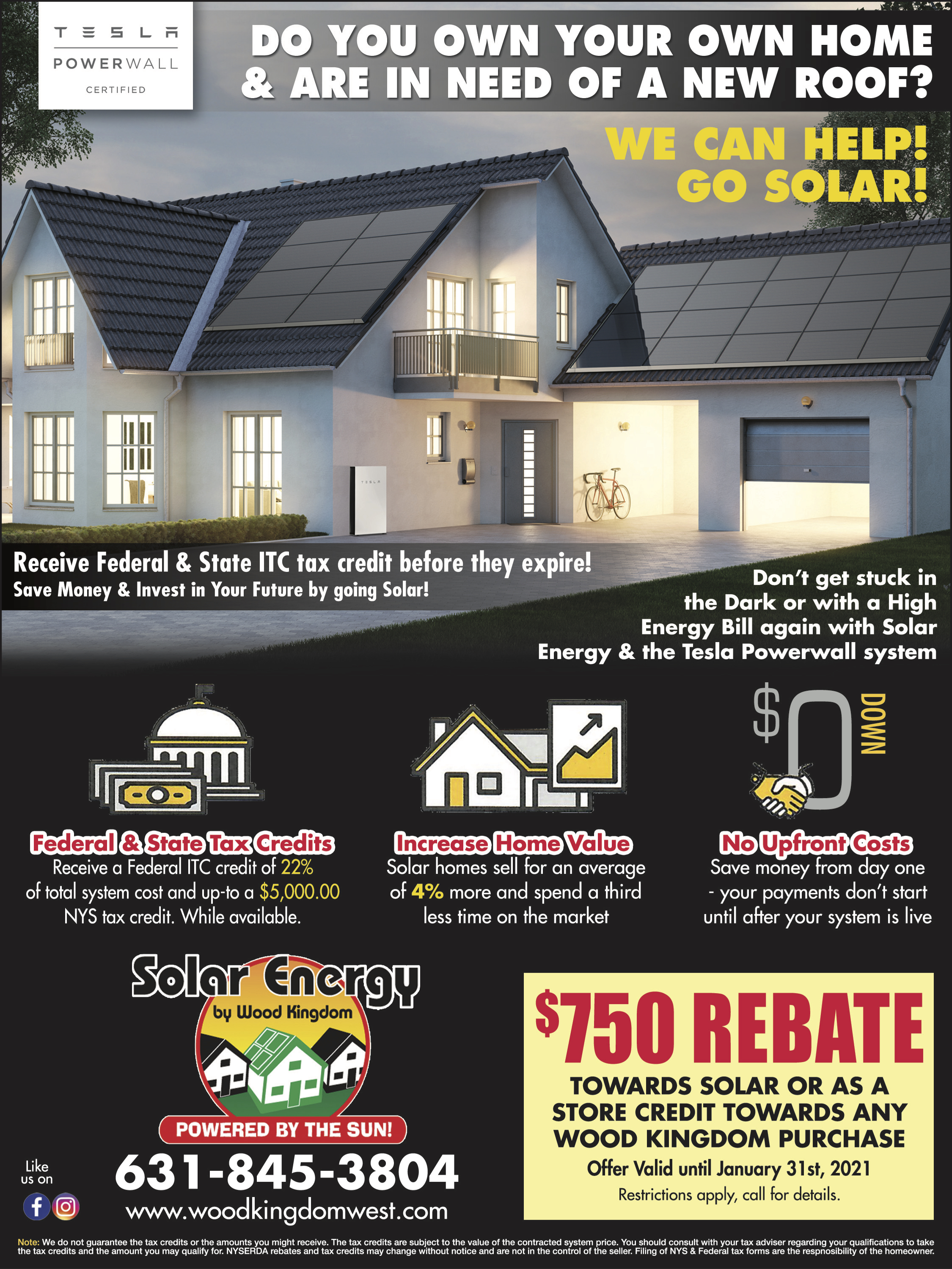 We can help you make your home go solar! Enjoy Federal & State Tax credits and increased home value with no upfront costs from Wood Kingdom West.