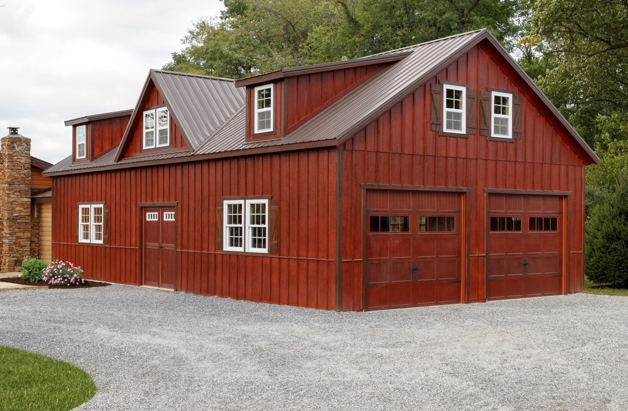 Large red two story garage in Long Island.