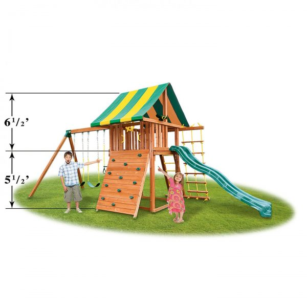 Eastern Jungle Gym Dream Wood Swing Set with Bottom Clubhouse, Accessory Arm & Wooden Step Ladder