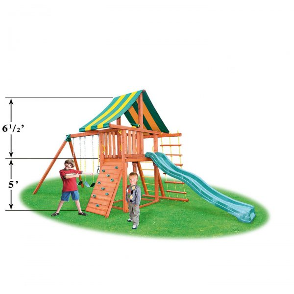 Eastern Jungle Gym Dreamscape Swing Set with Wood Roof & Gang Plank
