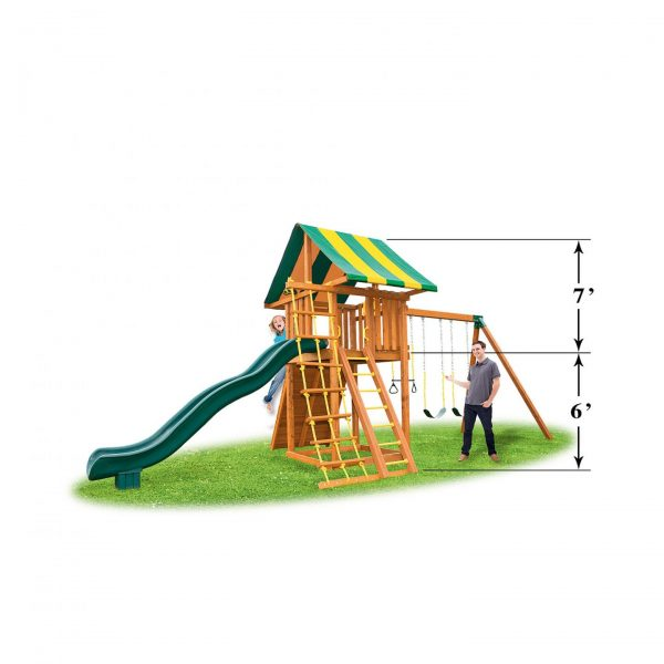 Eastern Jungle Gym Ultimate Cedar Swing Set with Wood Roof, Gang Plank & Picnic Table